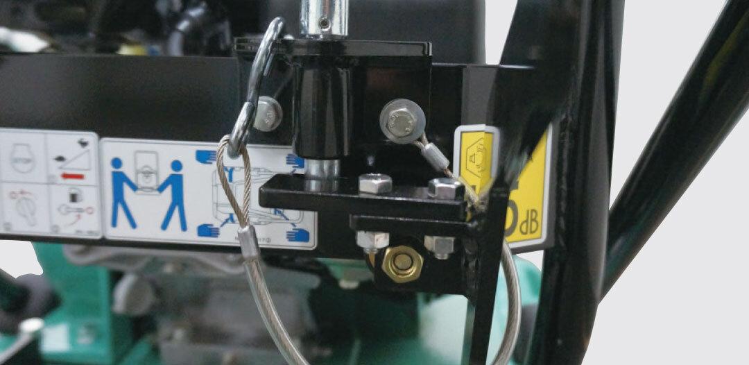 ハンドル固定用ワイヤー  移動車収納用ストッパー